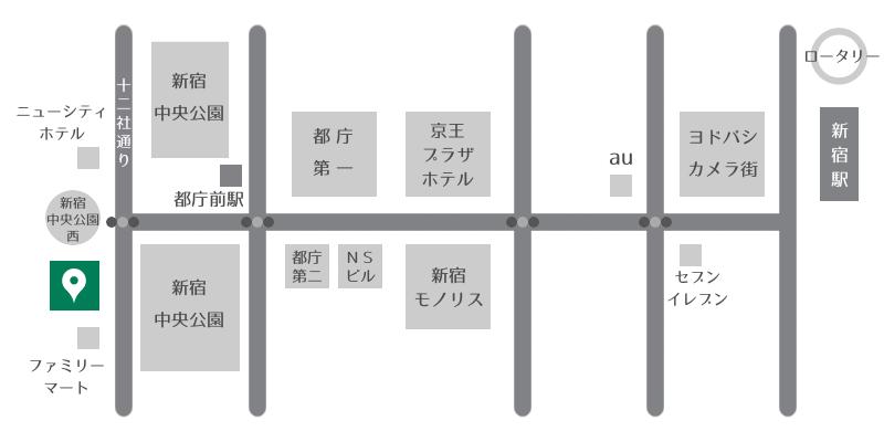 新宿駅からのアクセスマップ